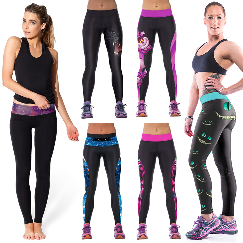 NEW Women's Gym Yoga Running Pants High-Waist Stretched Printed Skinny Leggings Sweatpants Trousers Cartoon Print (S-M)
