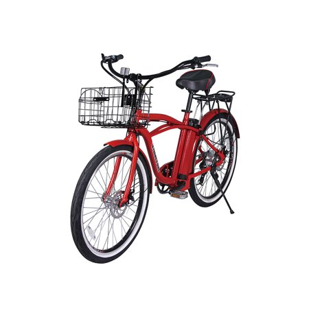 X-Treme Newport Electric Beach Cruiser Bicycle - Red