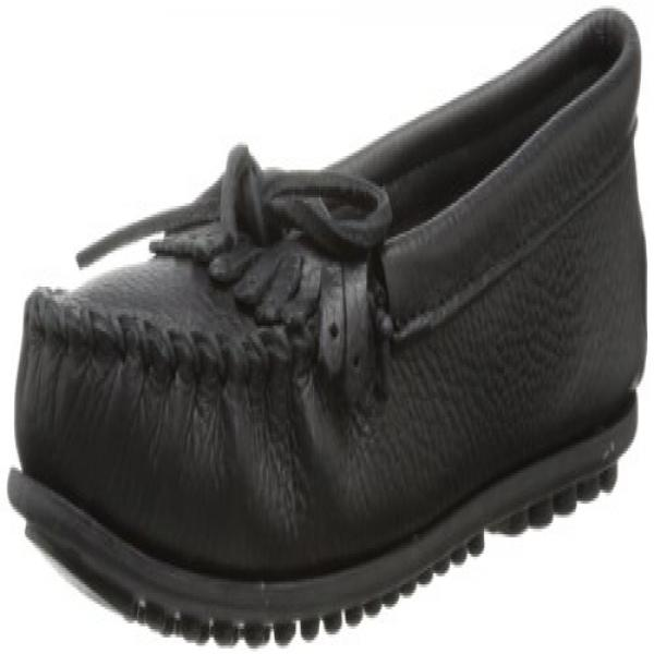 Minnetonka Women's Deerskin Soft-T Moccasin,Black Deerskin,10 M US by