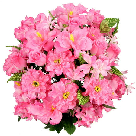 Admired by nature 36 stems artificial hibiscus with rosebud admired by nature 36 stems artificial hibiscus with rosebud freesias fillers flower mixed bush pink mightylinksfo