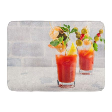 GODPOK Brunch Colorful Shrimp Homemade Spicy Vodka Bloody Mary Cocktail Selective Focus Red Bacon Garnish Rug Doormat Bath Mat 23.6x15.7 inch