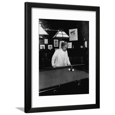 Mark Twain Playing Game of Pool Vintage Black and White Photo Framed Print Wall Art