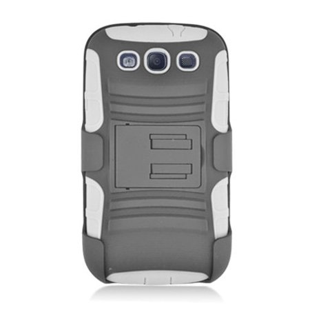 best service 69734 603cb Hybrid Rhino Armor Case with Holster & Swivel Clip for Samsung Galaxy S3  i9300- White/Black