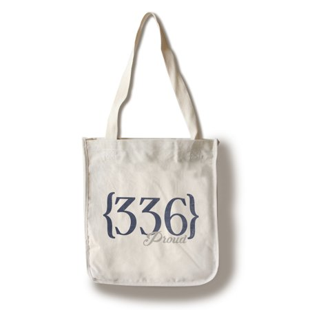 Greensboro, North Carolina - 336 Area Code (Blue) - Lantern Press Artwork (100% Cotton Tote Bag -