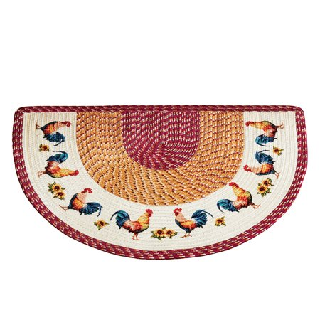 French Country Red Rooster (Braided French Country Rooster Slice Accent Rug - Decor for Kitchen, Slice)
