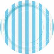 "7"" Striped Paper Dessert Plates, Light Blue, 8ct"