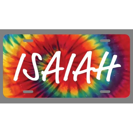 Isaiah Name Tie Dye Style License Plate Tag Vanity Novelty Metal | UV Printed Metal | 6-Inches By 12-Inches | Car Truck RV Trailer Wall Shop Man Cave | NP1725