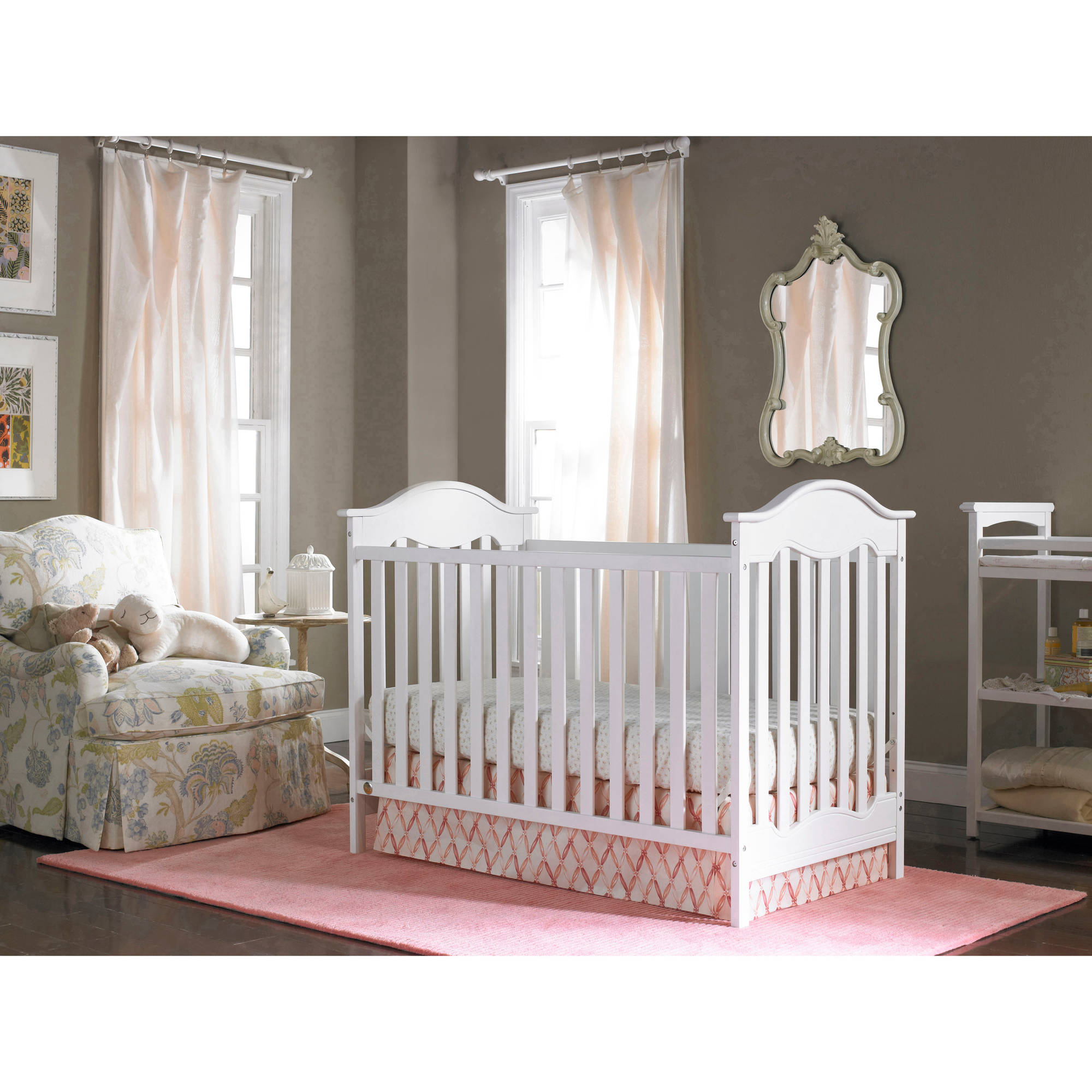 Fisher-Price Charlotte 3-in-1 Fixed-Side Convertible Crib, (Choose Your Finish)