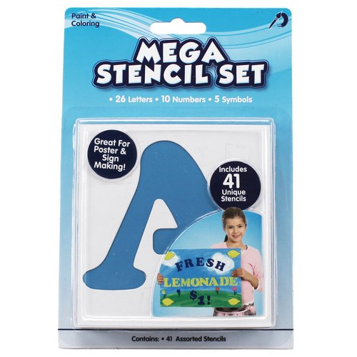 Kids Craft Jumbo Letters & Numbers Stencils, 41 Piece