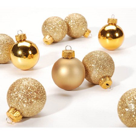 Miniature Gold Balls Christmas Tree Ornaments Set of 9 30mm Glitter Matte Shiny