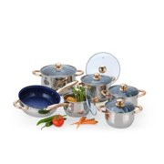 OEM Stainless Steel Belly-Shaped 12-piece Cookware Set with Triple-layered Capsulated Bottom