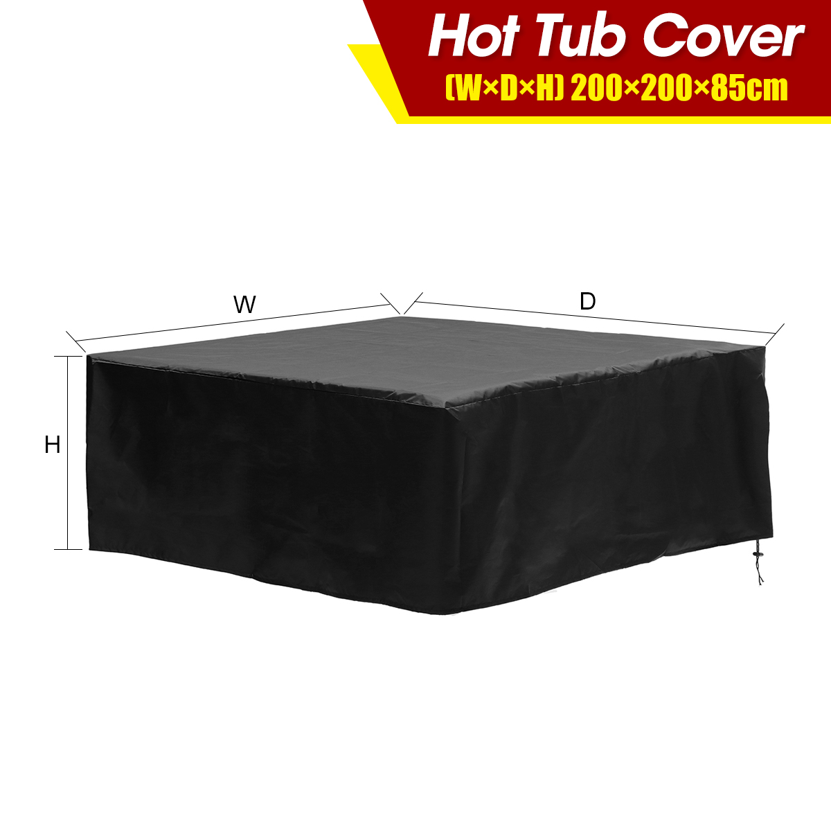 Silver Square UV Proof Waterproof Dust Spa Hot Tub Cover Cap Protector Case 30cm
