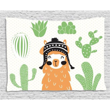 Llamas In Hats (Llama Tapestry, Llama in a Traditional Ethnic Bolivian Hat Smiling Comic on Polka Dots Illustration, Wall Hanging for Bedroom Living Room Dorm Decor, 60W X 40L Inches, Multicolor, by)
