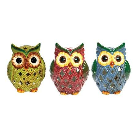 Alpine 8518235 Ceramic Owl Outdoor Solar Decor - Assorted- pack of 9 - image 1 of 1
