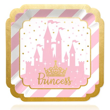 Little Princess Crown with Gold Foil - Pink and Gold Princess Baby Shower or Birthday Party Dinner Plates (16 Count) - Baby Princess Party Supplies
