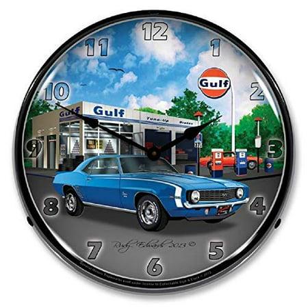 1969 Camaro SS Blue Gulf Gas Station Chevrolet Muscle Car Wall Clock 14