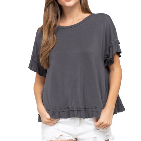 POL Clothing Women's Ruffle Trim Cross Over Short Sleeve Top-Charcoal-Small