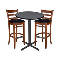 """30"""" Round Caf Table- Grey & 2 Zoe Caf St"""