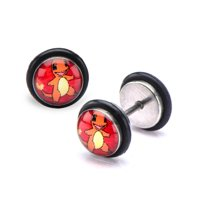 Pokemon Charmander Fronts 18g Stainless Steel Faux Plugs