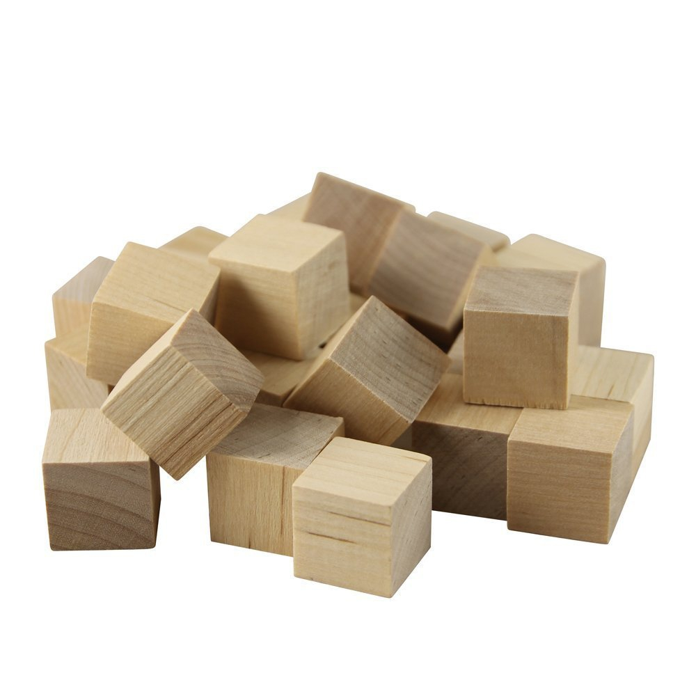 Wooden Cubes � 1-1 4� Inch Baby Wood Square Blocks � For Puzzle Making, Crafts, And DIY... by Woodpeckers