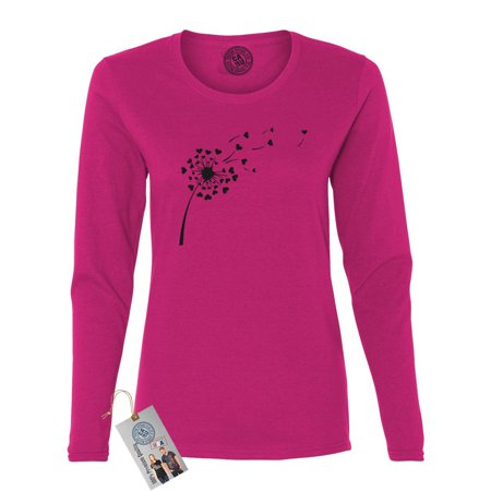 Valentines Day Whimsical Dandelion Shirt  Womens Long Sleeve T - Dandy Lion Clothing