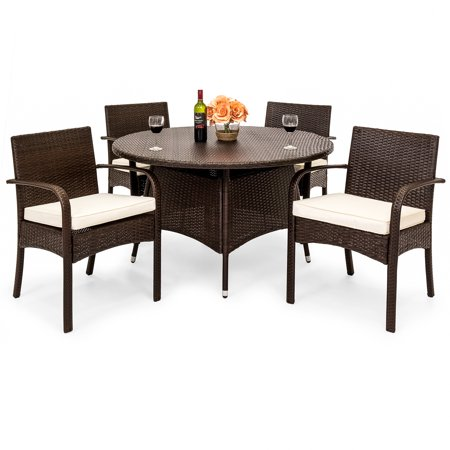 Best Choice Products 5-Piece Indoor Outdoor Patio Wicker Dining Set Furniture W/ Round Table, 4 Chairs, Cushions ()