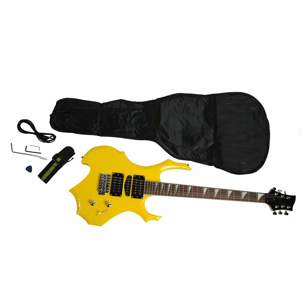 professional flame type electronic guitar guitar bag pick tremolo bar link cable set yellow. Black Bedroom Furniture Sets. Home Design Ideas