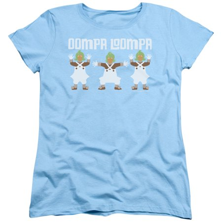 Willy Wonka And The Chocolate Factory Oompa Loompa Womens Short Sleeve Shirt (Light Blue, X-Large) (Oompa Loompa Dress Up)