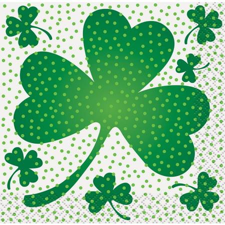 Lucky Shamrock St. Patrick's Day Beverage Napkins, 16ct