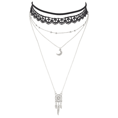 Lux Accessories Black Lace Choker SilverTone Moon Dream Catcher Layered Necklace