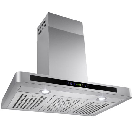 "Image of AKDY 30"" Stylish Stainless Steel Wall Mount Kitchen Range Hood Touch Control Panel & LED Lights"