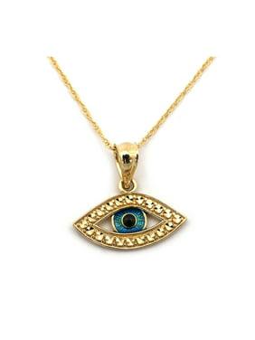 6e409ea50660 Product Image Beauniq 14k Yellow Gold Blue Enamel Diamond Cut Evil Eye Pendant  Necklace - 13