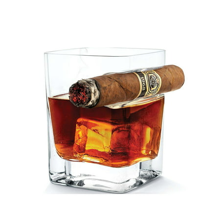 Peroptimist Transparent Whiskey Glass Cup With Cigar Holder Groove Rack, 11 OZ Cigar Glass Bar Wine Drinking Mug