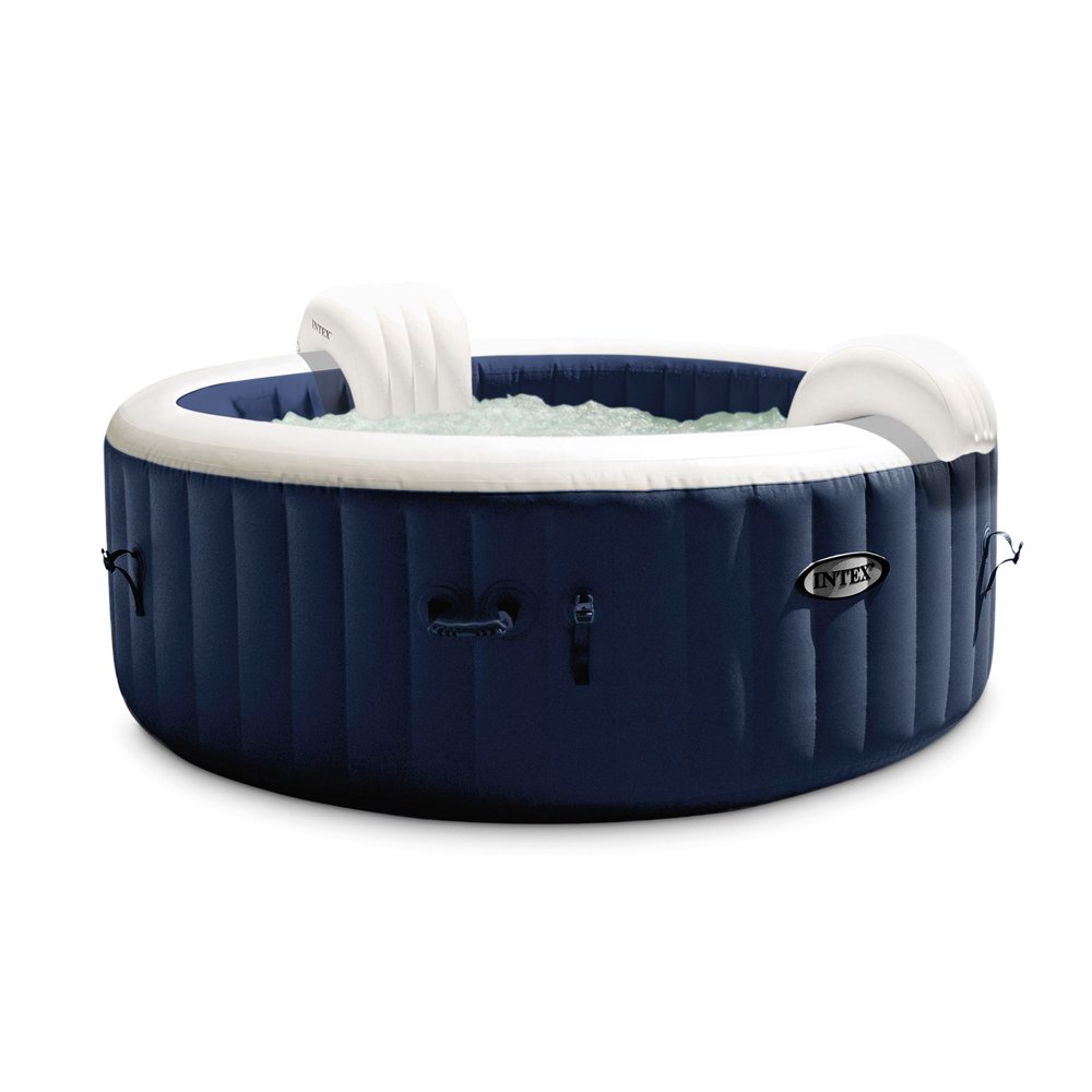 Intex PureSpa Plus 4 Person Portable Inflatable Hot Tub Bubble Jet Spa, Blue
