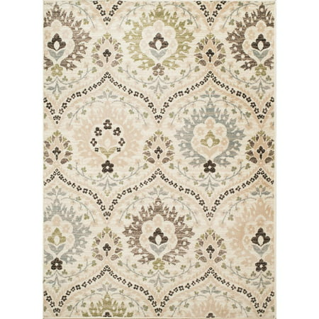 United Weavers Tiffany Area Rugs - 3002-30590 Contemporary Cream Bulbs Curved Petals Garlands Rug