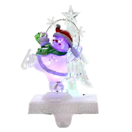 Christmas SKATING SNOWMAN LED STOCKING HOLDER Color Changing Light 132107. ()