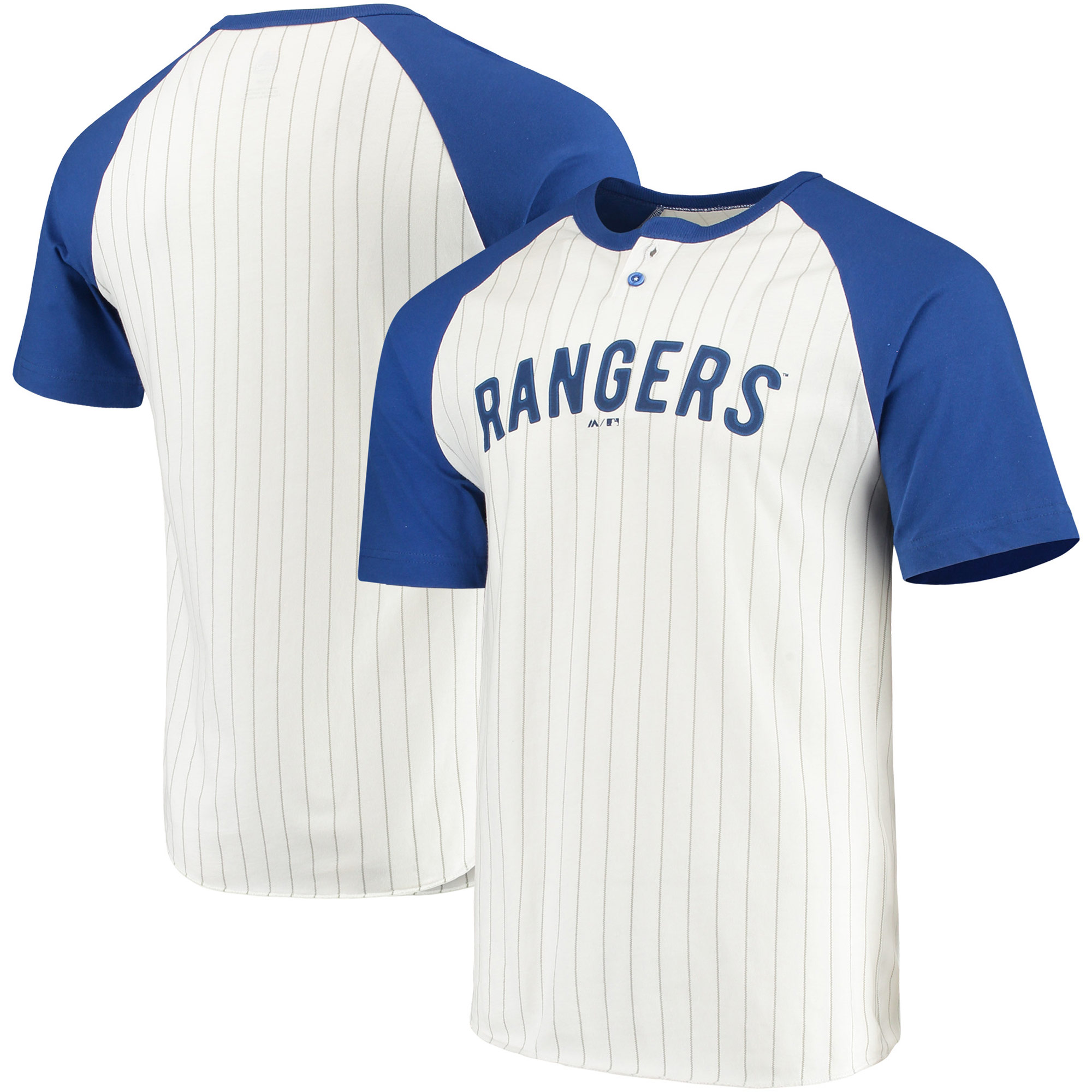 Texas Rangers Majestic Everything in Order Domestic Pinstripe T-Shirt - White