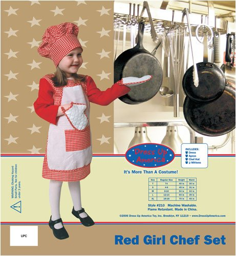 Dress Up America Red Gingham Girl Chef Large 12-14 210-L