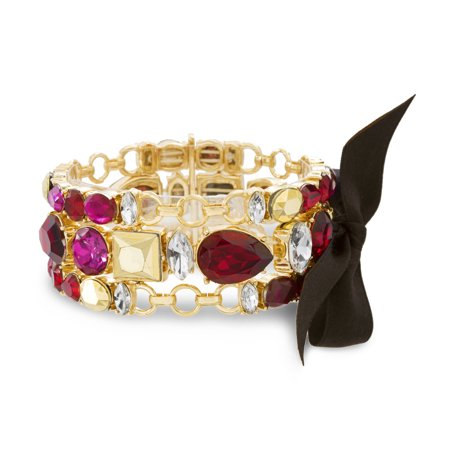 Catherine Malandrino Women's Red, Hot Pink and Metallic Rhinestone 3-Row Black Ribbon Yellow Gold-Tone Trio 7