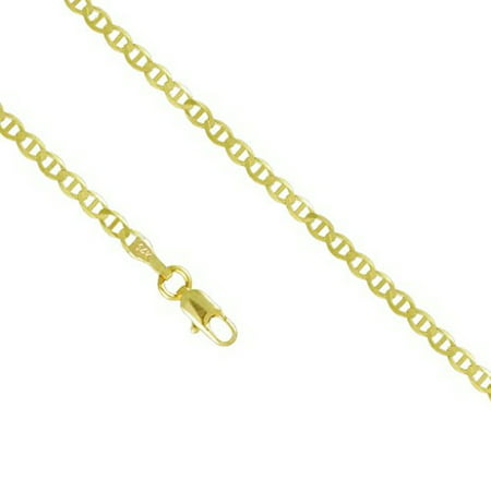14K Yellow Gold Men Women's 2.0MM Mariner Anchor Necklace Link Lobster Clasp, 16-24 Inches (18)