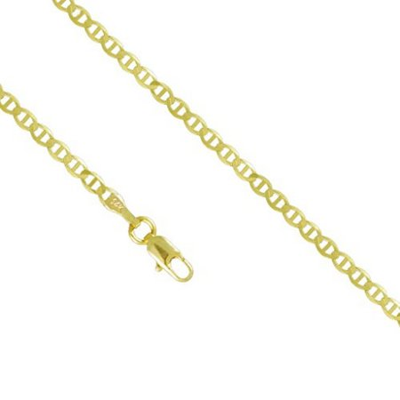 14K Yellow Gold Men Women's 2.0MM Mariner Anchor Necklace Link Lobster Clasp, 16-24 Inches (18) ()