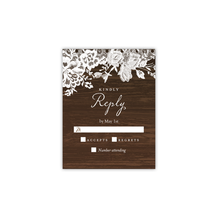 Personalized Wedding RSVP - Rustic Lace Border - 4.25 x 5.5 Flat Personalized Embroidered Wedding Afghan