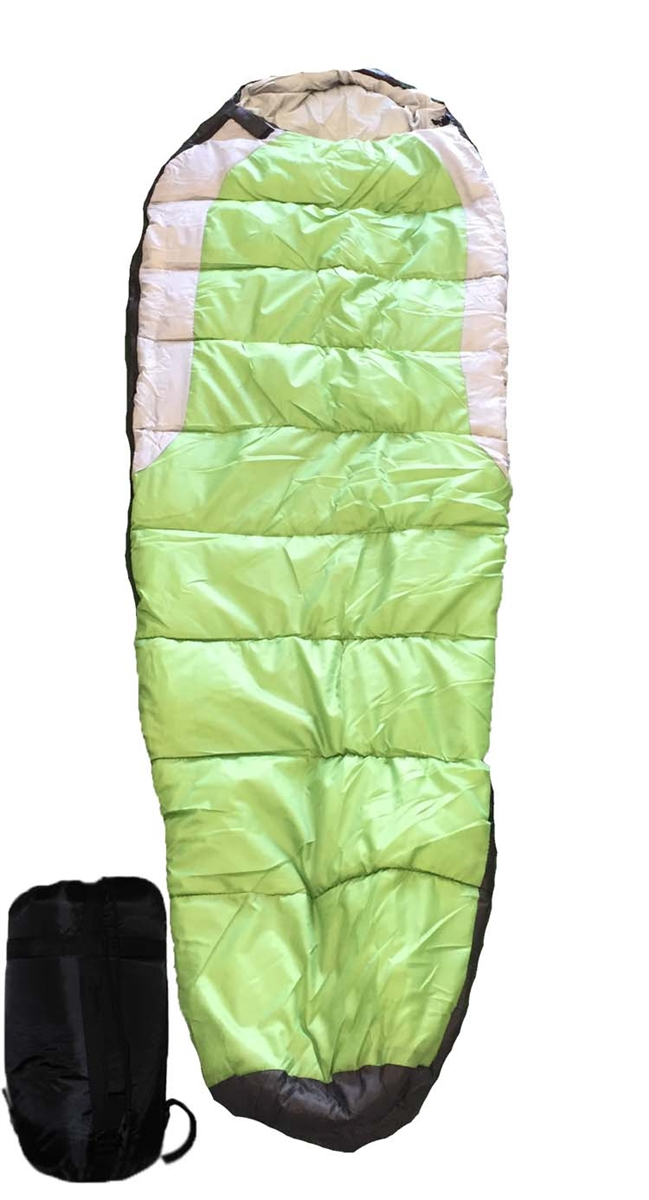 Mummy Type Camping Sleeping Bag With Carrying Case Green Grey Black