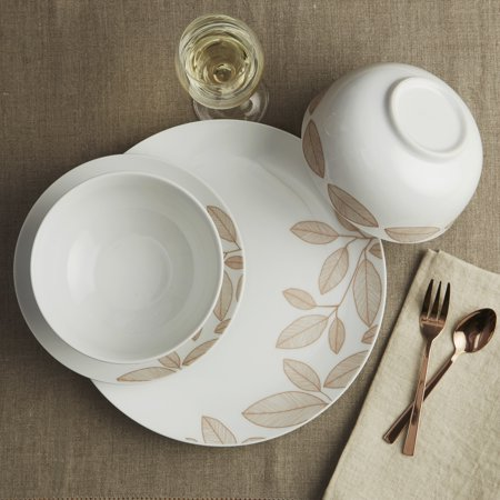 Safdie & Co. 12-Piece Dinnerware Set, Rose Gold, Foliage (Rosa & Co)