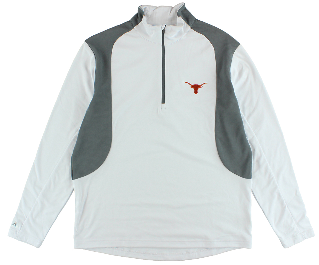 Antigua Mens Texas Longhorns Delta Quarter Zip Pullover Jacket White by Antigua