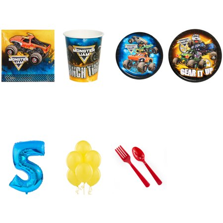 MONSTER JAM PARTY SUPPLIES PARTY PACK FOR 24 WITH BLUE #4 BALLOON