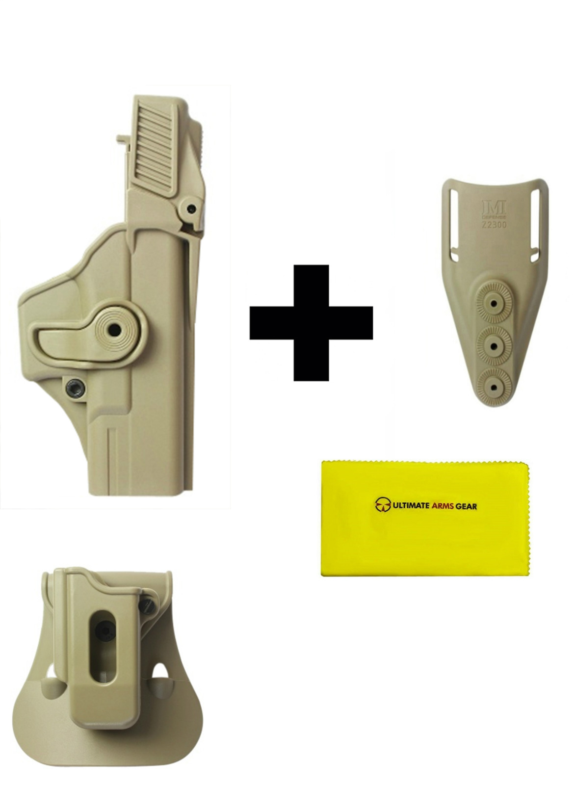 IMI Defense ZSP08 Single Mag Pouch & Paddle + Z1400 Level 3 360� Rotate Holster Glock 19 23 25 32 Gen 4, Tan + Z2300 Low... by