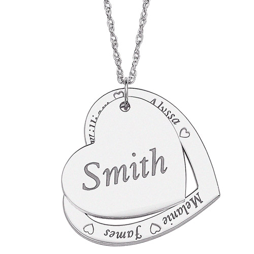 Personalized Family Name Layered Hearts Engraved Sterling Silver Pendant, 20""