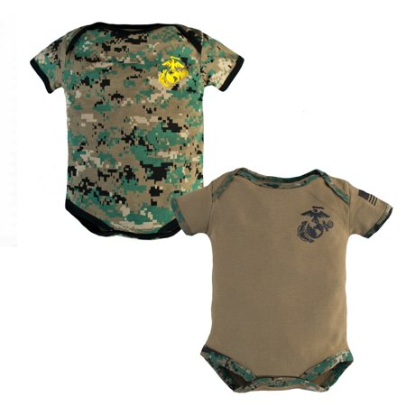 Baby Bodysuits 2 Pk. USMC Woodland Camo and Coyote Brown