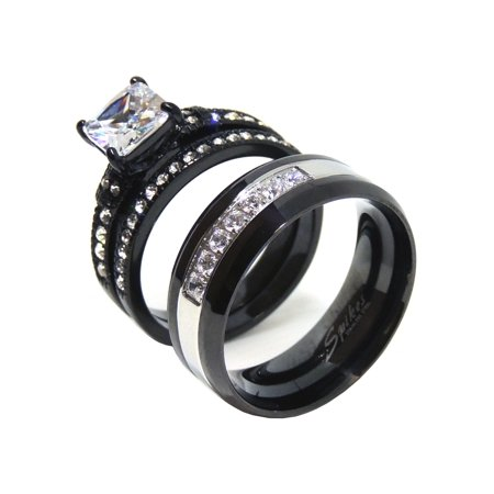 His Hers Ring Set Womens Princess Cz Black Wedding Mens 7 Czs Two Tone Band